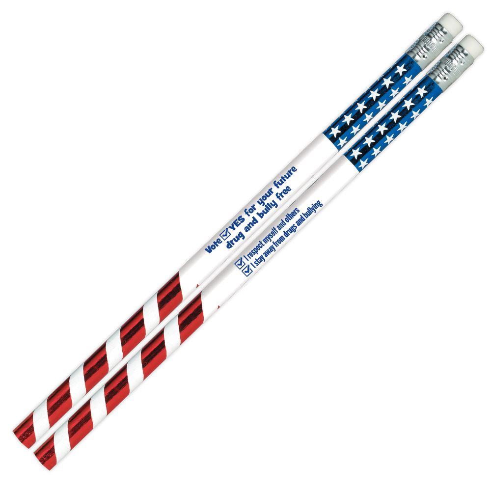 Vote Yes For Your Future Drug & Bully Free Sparkle Foil Pencil - 100 Per Pack