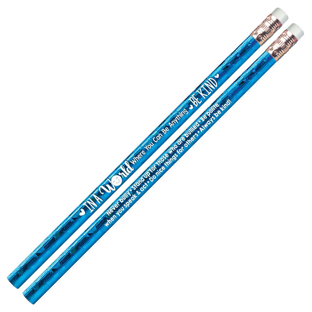 In A World Where You Can Be Anything, Be Kind Blue Sparkle Foil Pencil - Pack of 25