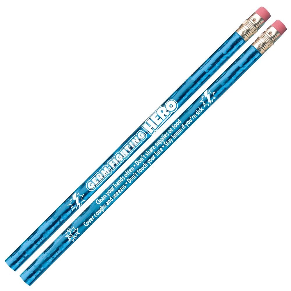 Germ-Fighting Hero Sparkle-Foil Pencil - Pack of 25