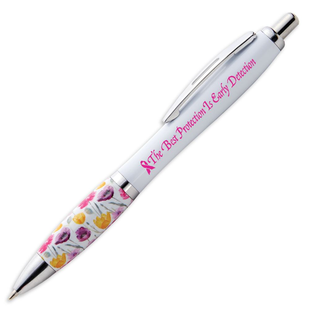 The Best Protection Is Early Detection Floral Grip Awareness Pen