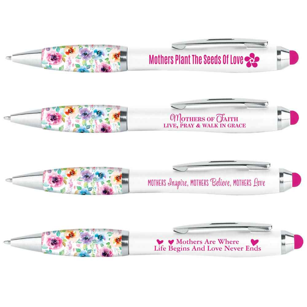 Floral Grip Stylus Pens For Mothers Assortment Pack