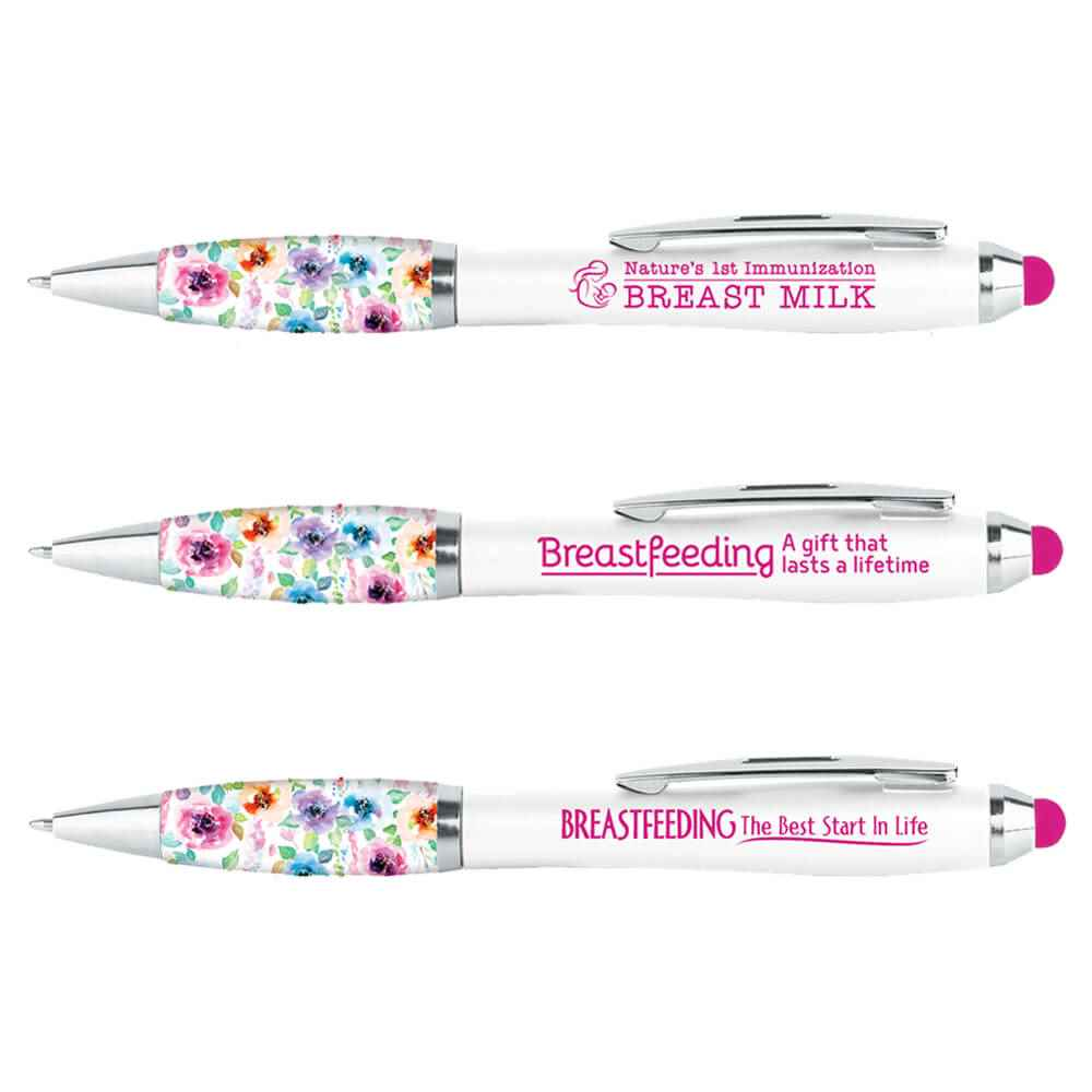 Breastfeeding Awareness Floral Grip Stylus Pens Assortment Pack