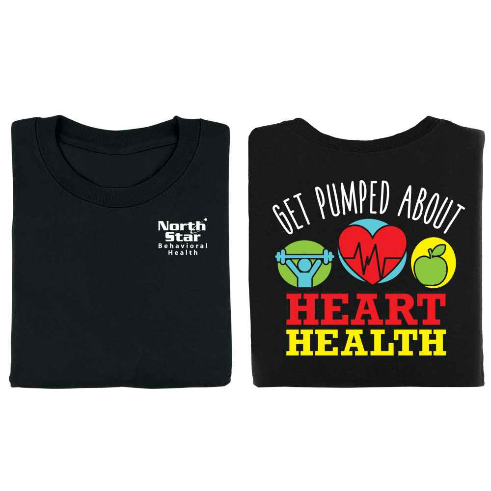 Get Pumped About Heart Health Black 2-Sided Short Sleeve T-Shirt - Personalization Available