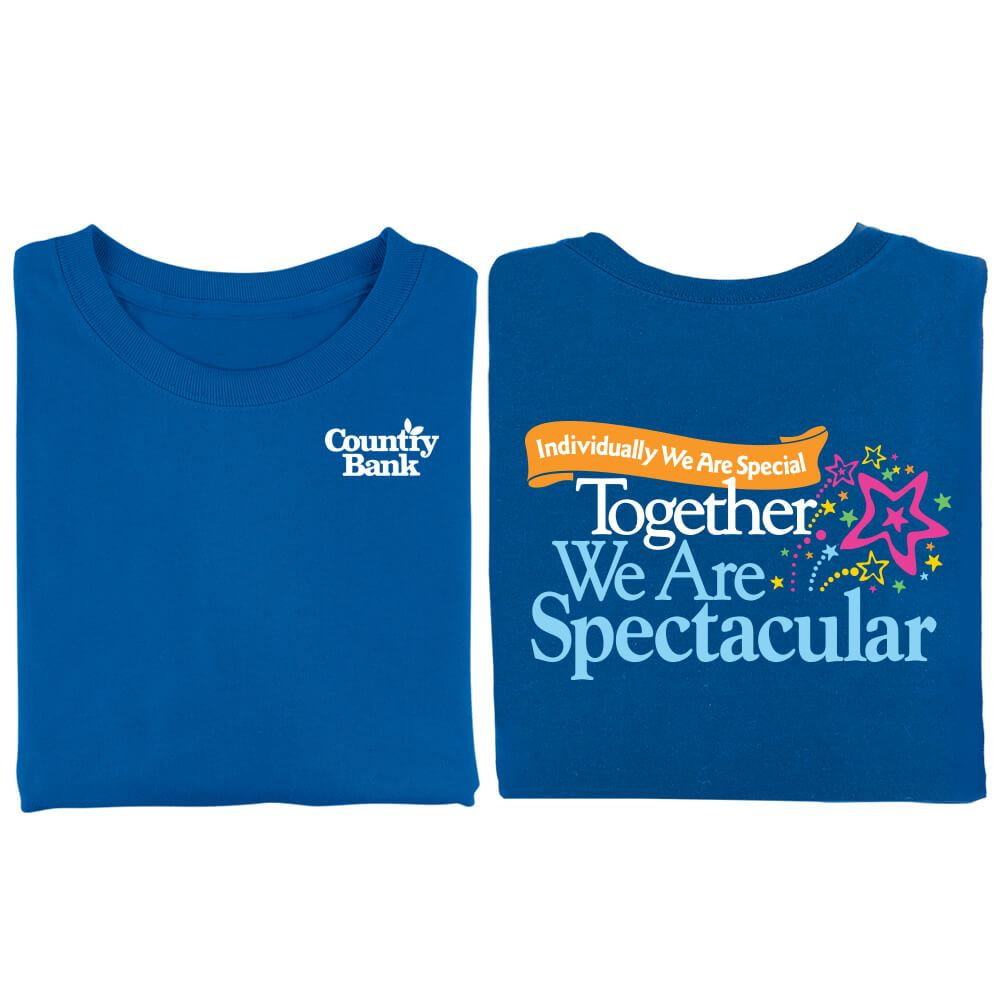 Individually We Are Special, Together We Are Spectacular 2-Sided Royal Blue T-Shirt - Personalized