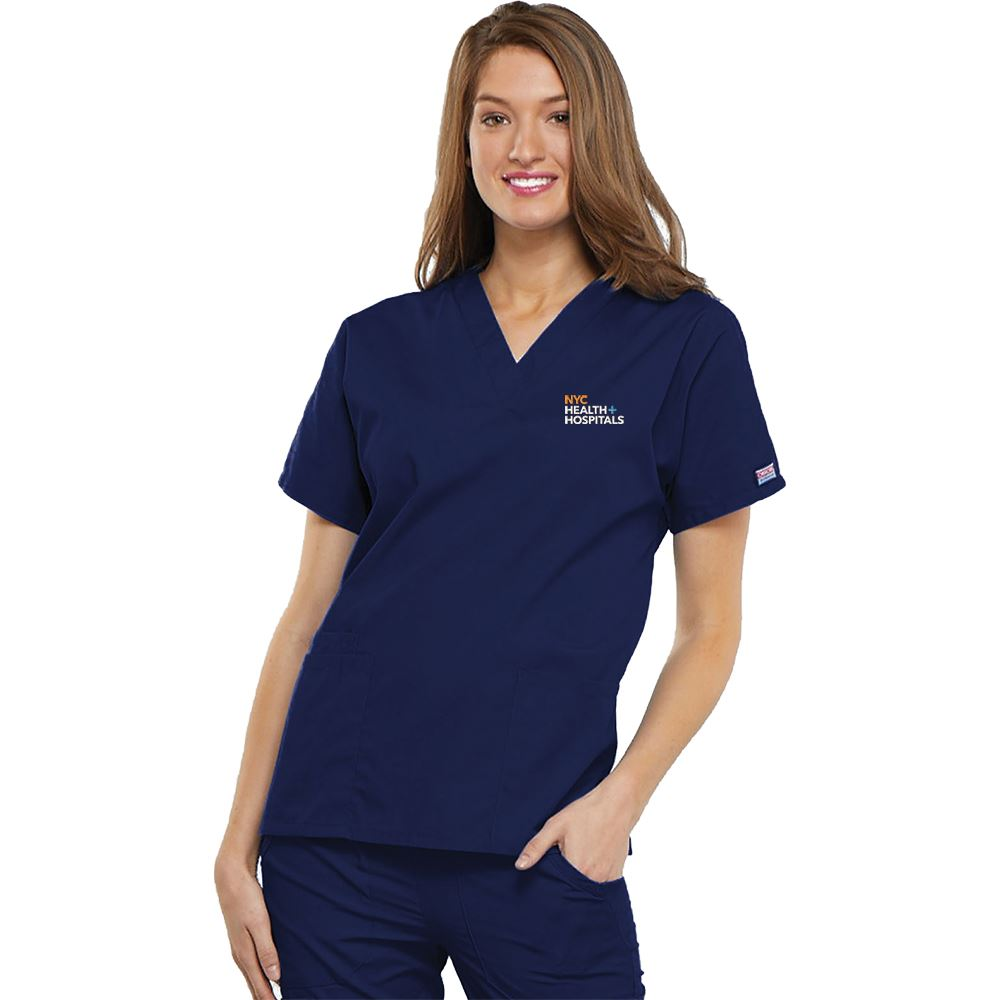 Cherokee® Women's V-Neck Three-Pocket Scrubs Top - Personalization Available