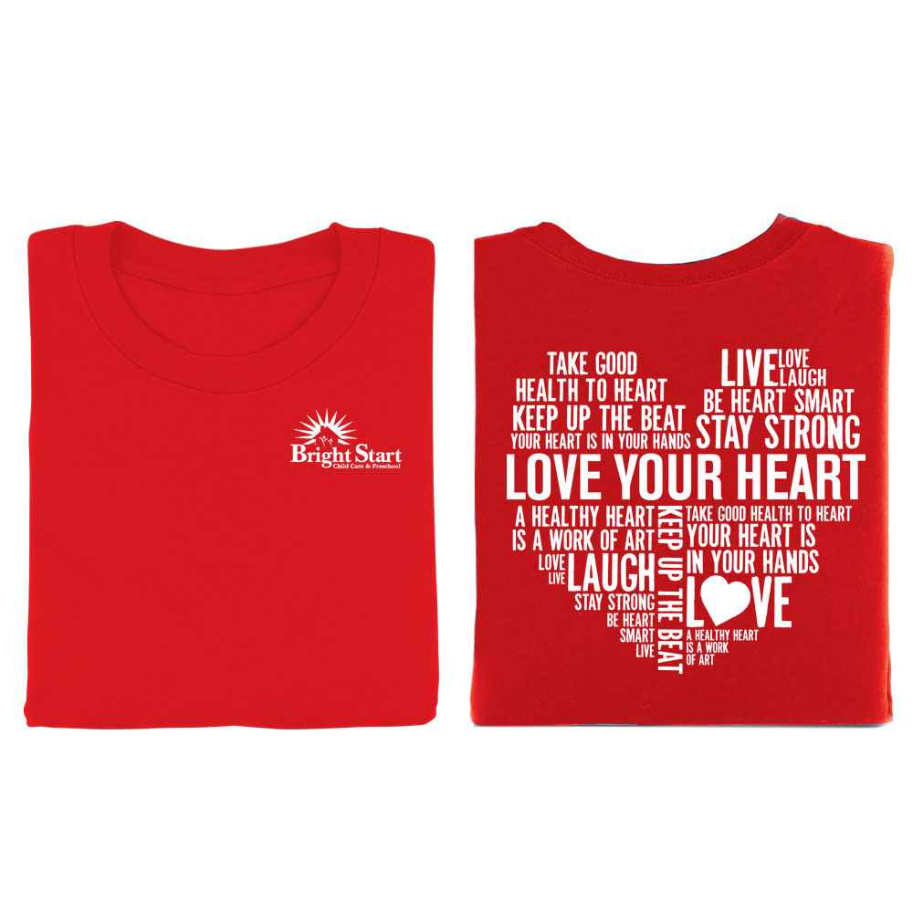 Love Your Heart Word Cloud Red 2-Sided Short Sleeve T-Shirt - Personalization Available