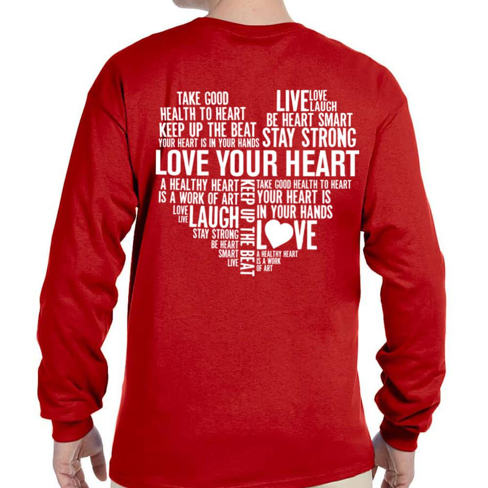 Love Your Heart (Word Cloud) 2-Sided Long-Sleeve T-Shirt - Personalized