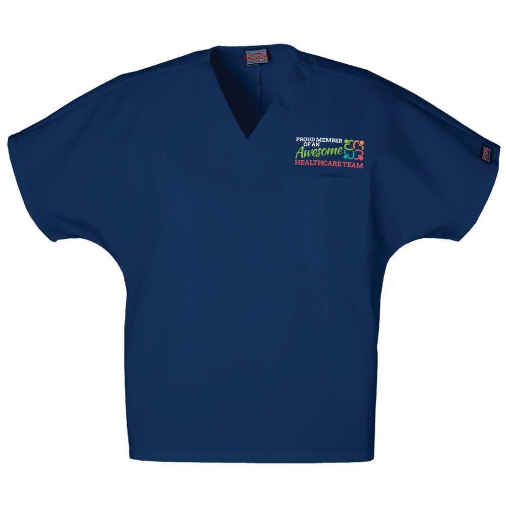 Proud Member Of An Awesome Healthcare Team Cherokee® Embroidered Unisex V-Neck 1-Pocket Scrub Top - Personalization Available