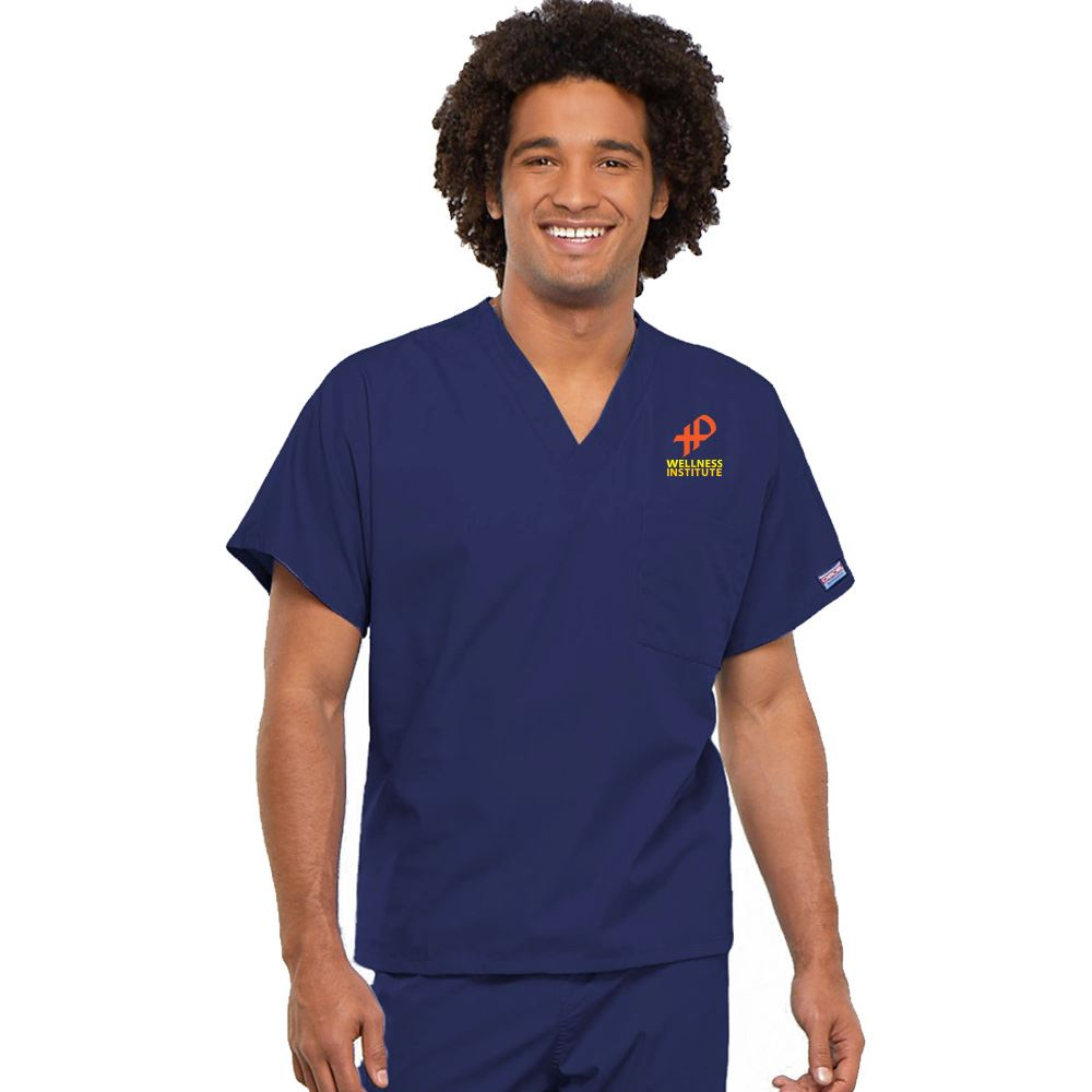 Caring For The Community Cherokee® Embroidered Unisex V-Neck 1-Pocket Scrub Top - Personalization Available
