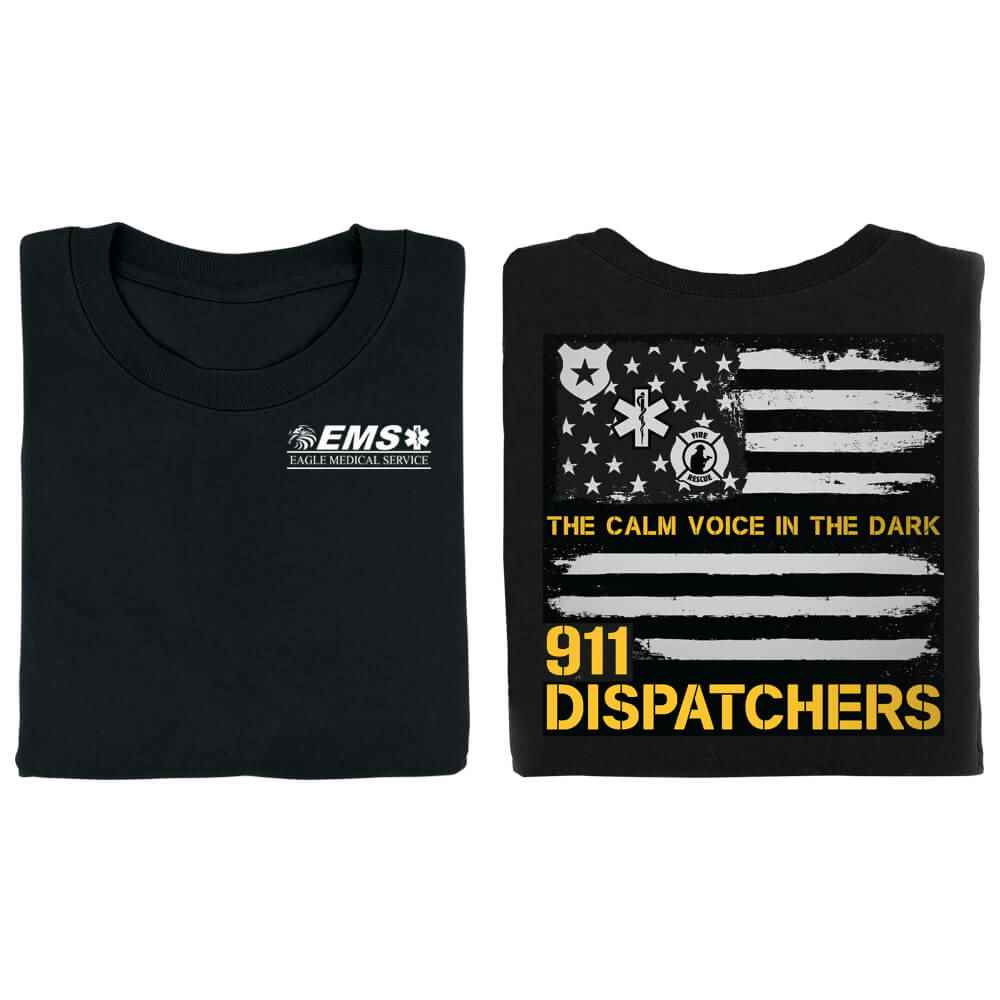 911 Dispatchers: The Calm Voice In The Dark Short-Sleeve 2-Sided T-Shirt - Personalized