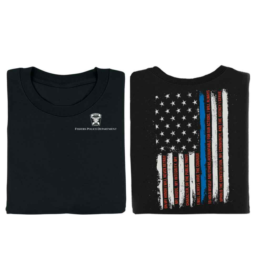 The Thin Blue Line American Flag Oath Of Honor Two-Sided T-Shirt - Personalization Available