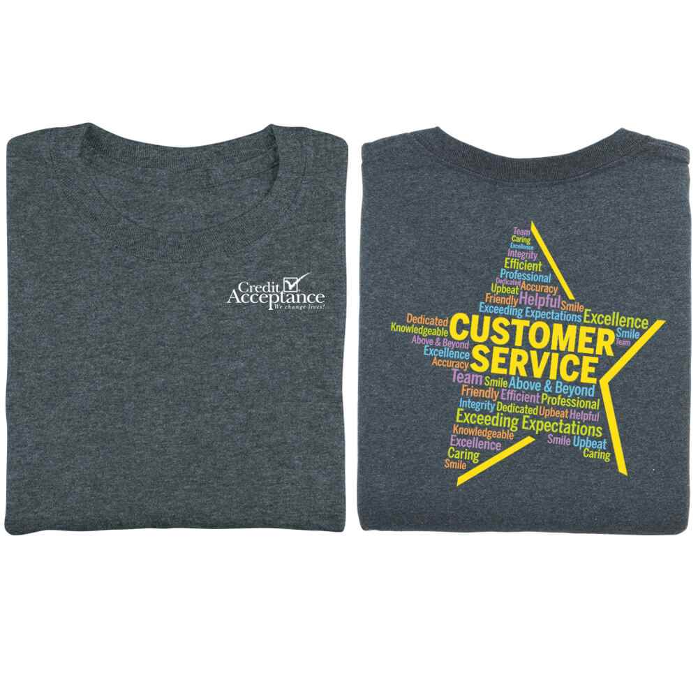 Customer Service Star Word Cloud Positive 2-Sided T-Shirt - Personalized
