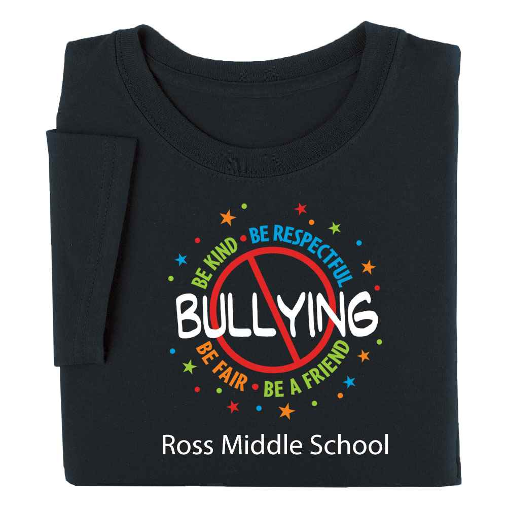 No Bullying: Be Kind, Be Respectful, Be Fair, Be A Friend Youth Positive T-Shirt - Personalized