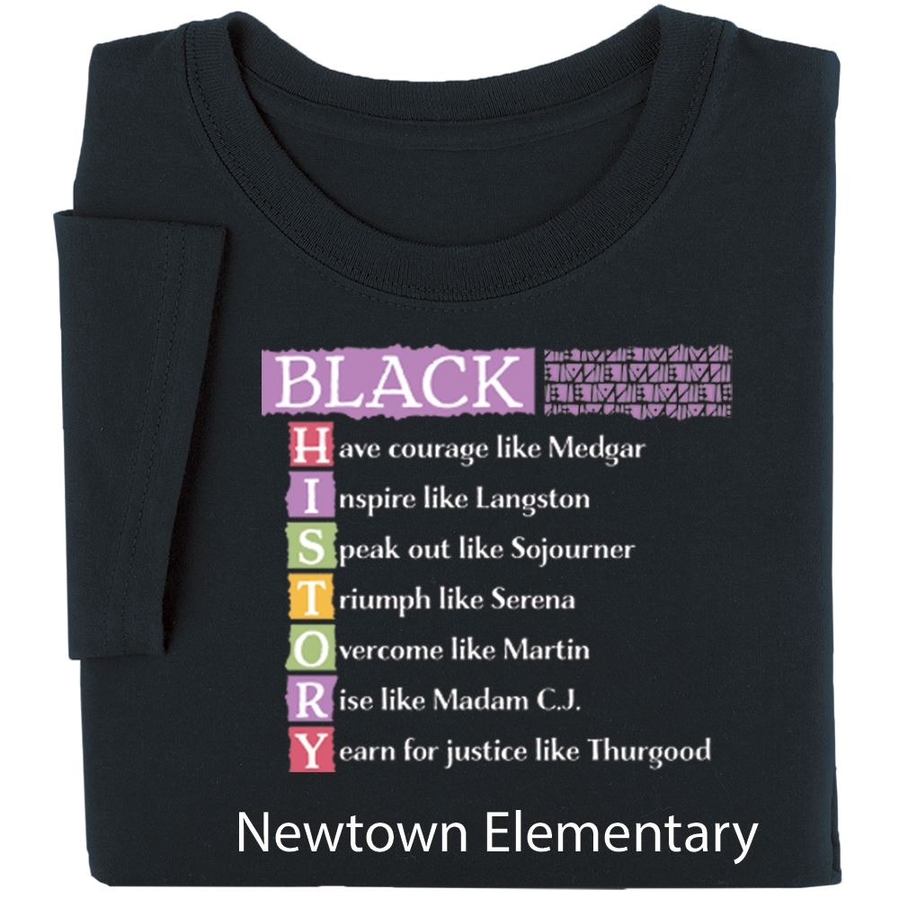 Black History Acrostic Adult Unisex T-Shirt - Personalization Available