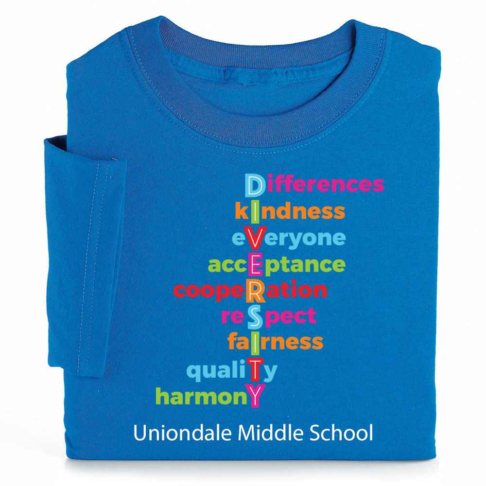 Diversity Acrostic Adult Positive T-Shirt - Personalization Available