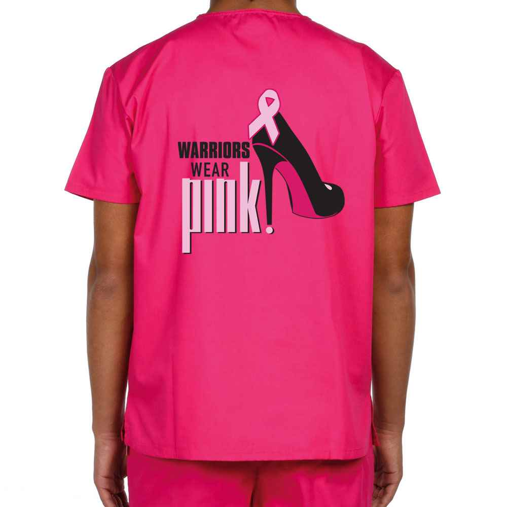 Dickies® V-Neck One-Pocket Breast Cancer Awareness Two-Sided Scrub Top - Personalization Available