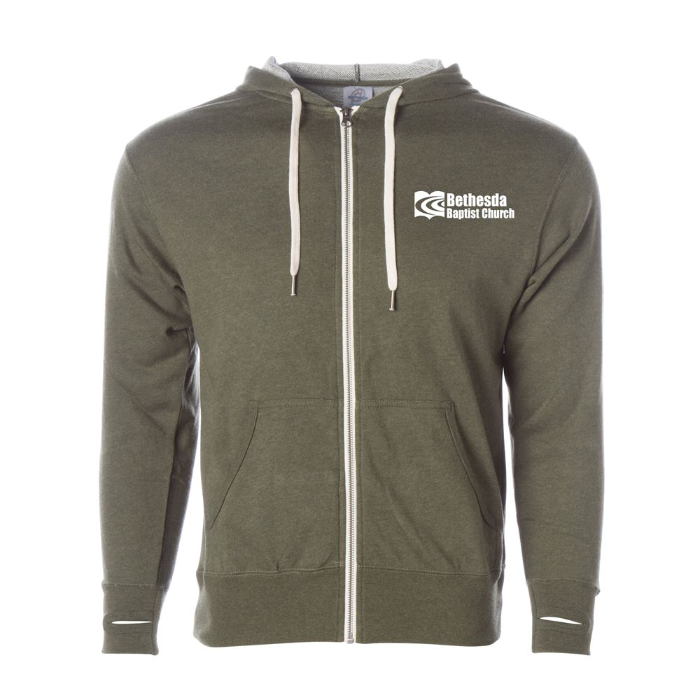 Independent Trading Co.® Unisex Heather French Terry Full-Zip Hooded Sweatshirt - Silkscreen Personalization Available