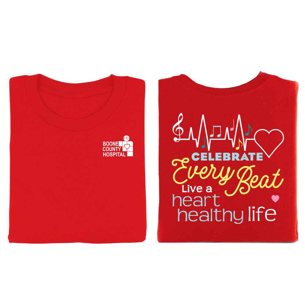 Celebrate Every Beat: Live A Heart-Healthy Life Positive 2-Sided Short Sleeve T-Shirt - Personalized