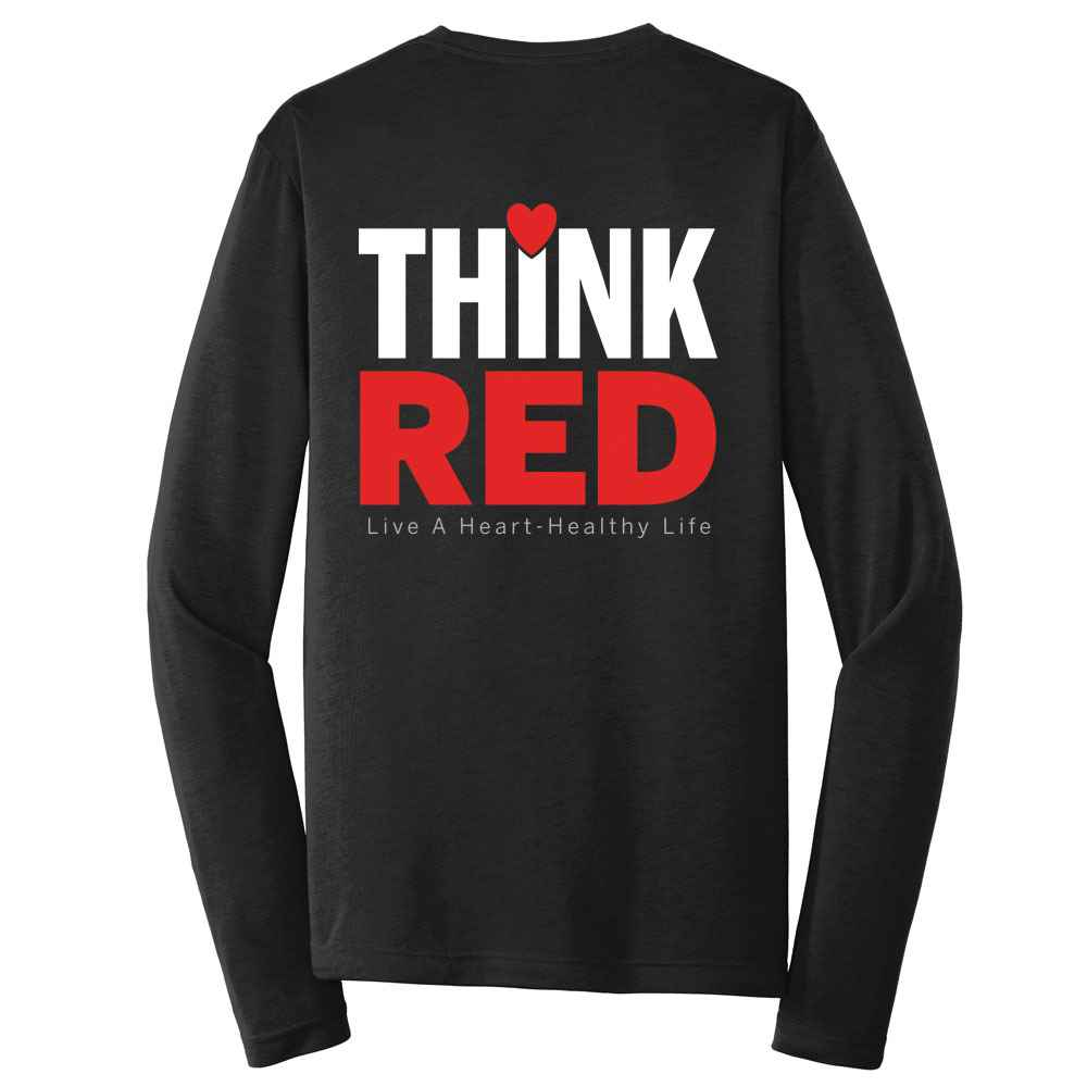 Think Red: Live A Heart Healthy Life Positive 2-Sided Long Sleeve T-Shirt - Personalized