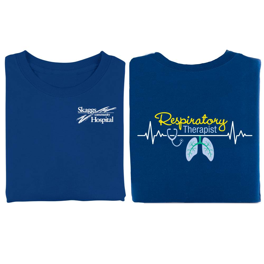 Respiratory Therapist Heartbeat Lungs 2-Sided T-Shirt - Personalization Available