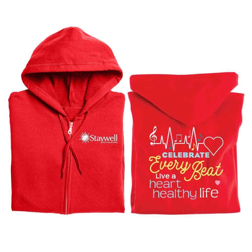 Celebrate Every Beat: Live A Heart Healthy Life Awareness Gildan® Full-Zip Hooded Sweatshirt - Personalized