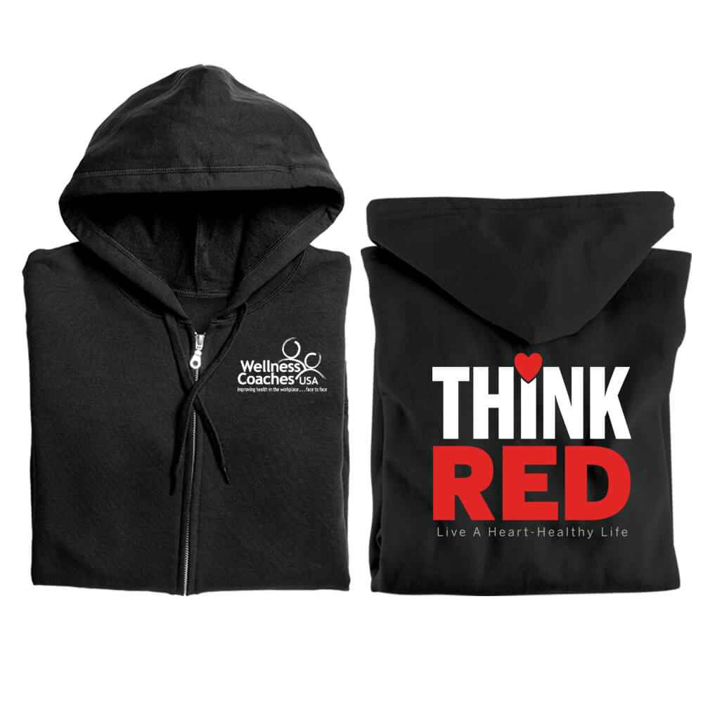 Think Red: Live A Heart-Healthy Life Gildan® Full-Zip Hooded Sweatshirt - Personalized