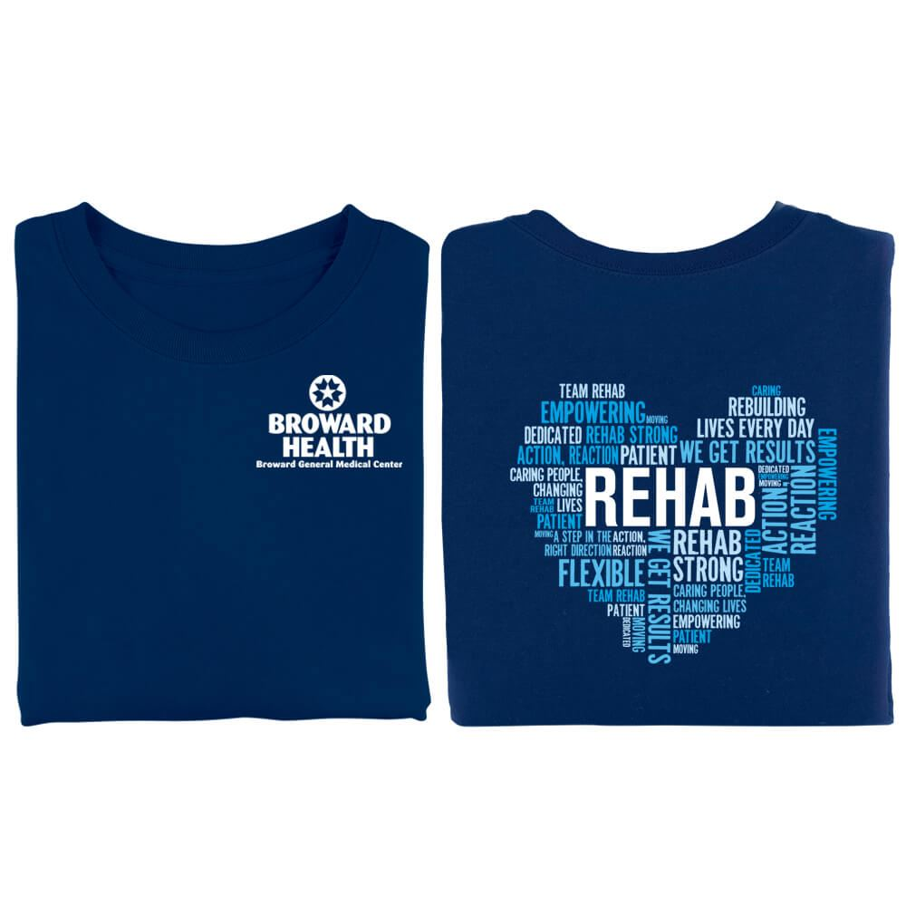 Rehab Heart Word Cloud Two-Sided Short Sleeve T-Shirt - Personalized
