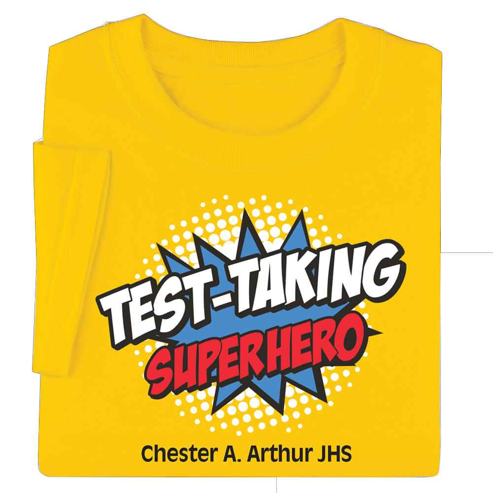 Test-Taking Superhero Adult T-Shirt - Personalization Available