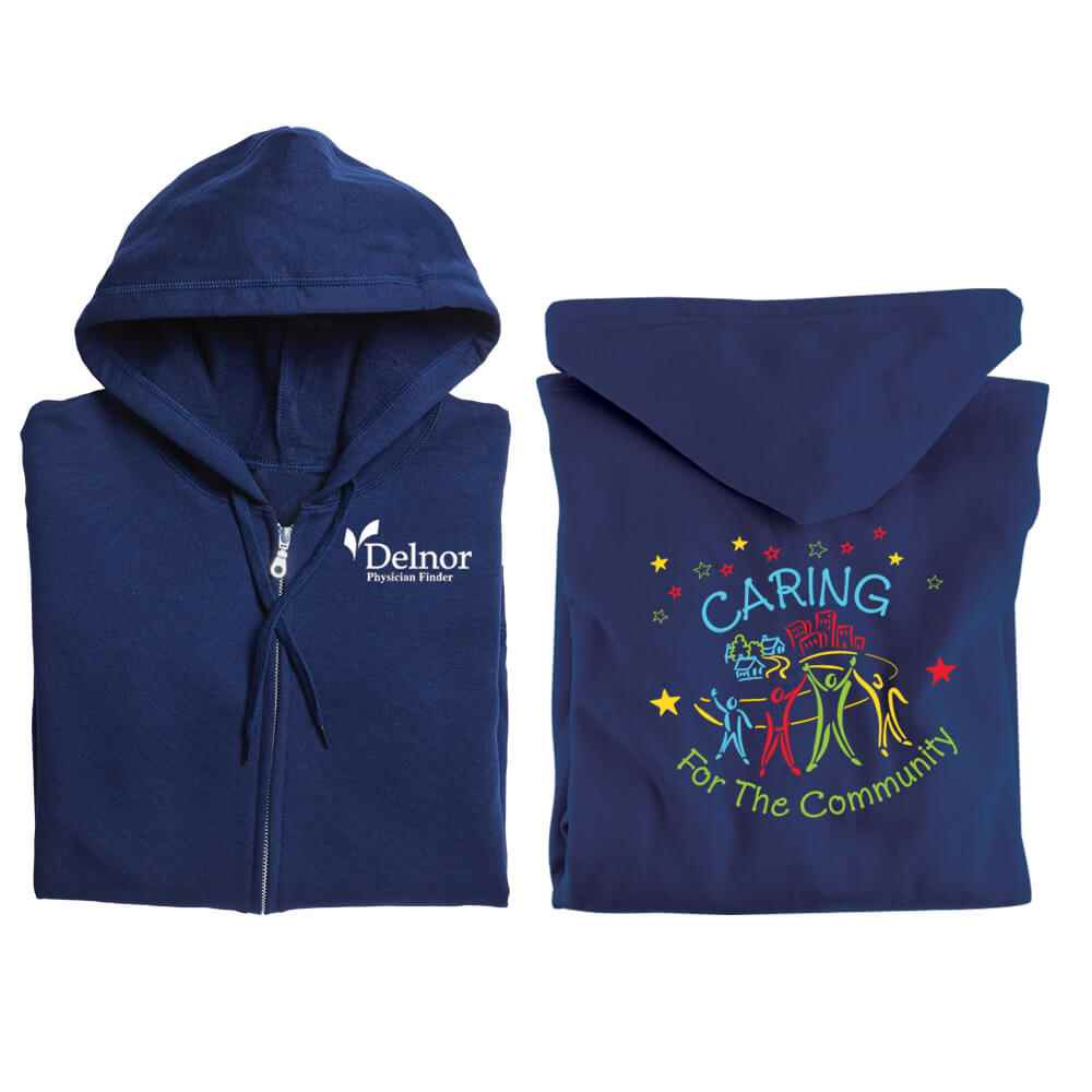 Caring For The Community Gildan® 2-SIded Full-Zip Hooded Sweatshirt - Personalization Available