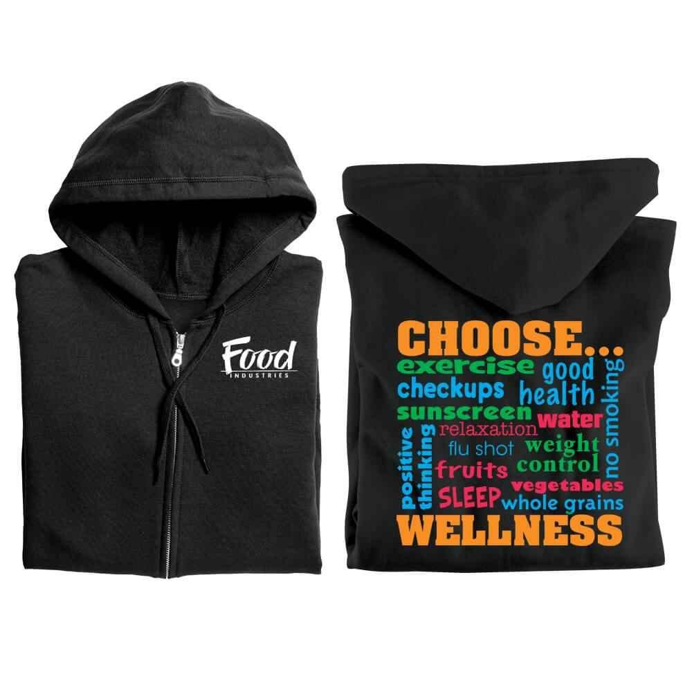 Choose Wellness Gildan® 2-Sided Full-Zip Hooded Sweatshirt - Personalization Available