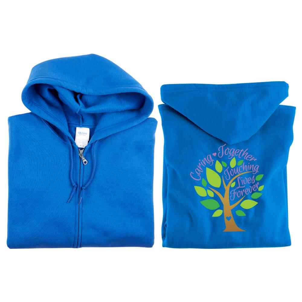 Caring Together, Touching Lives Forever Gildan® 2-Sided Full-Zip Hooded Sweatshirt - Personalization Available