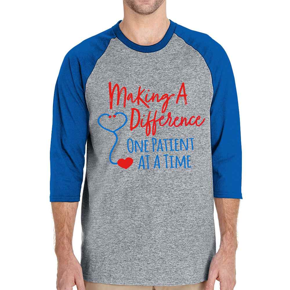 Making A Difference One Patient At A Time Gildan® Heavy Cotton 3/4 Raglan Sleeve Baseball Jersey - Personalization Available
