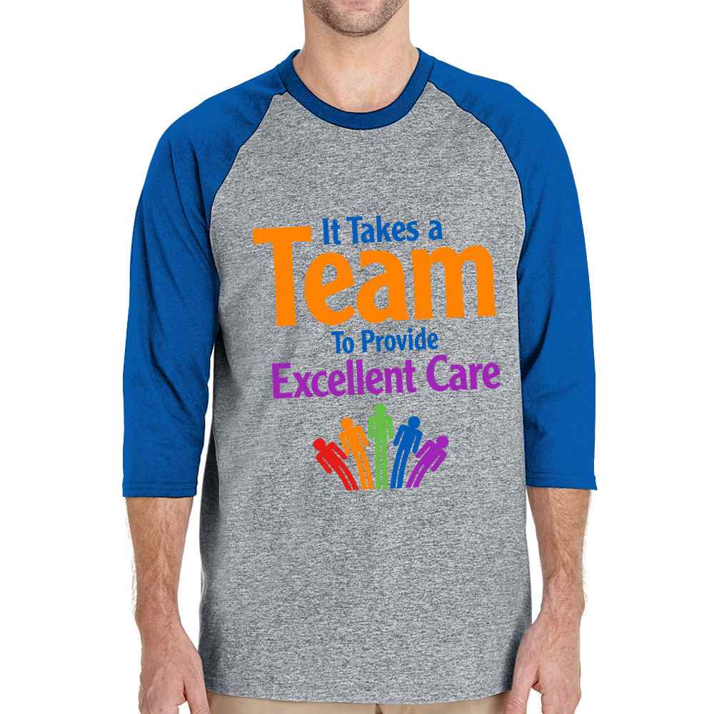 It Takes A Team To Provide Excellent Care Gildan® Heavy Cotton 3/4 Raglan Sleeve Baseball Jersey - Personalization Available