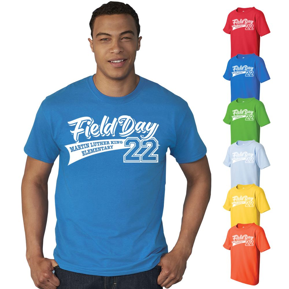 Field Day Adult 100% Cotton Colorful T-Shirt - Personalization Availalble