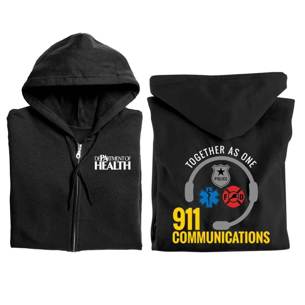 911 Communications: Together As One Gildan® Full-Zip Hooded Sweatshirt - Personalized