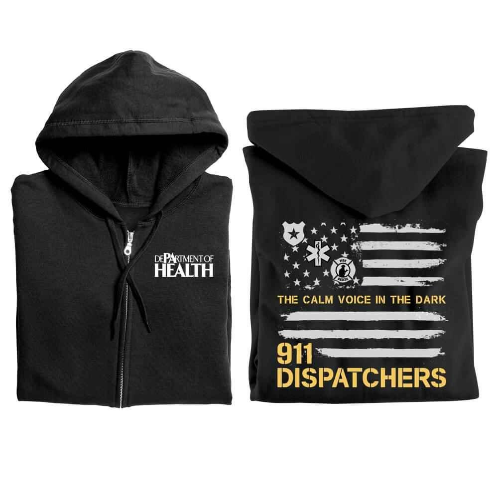 911 Dispatchers: The Calm Voice In The Dark Gildan® Full-Zip Hooded Sweatshirt - Personalized