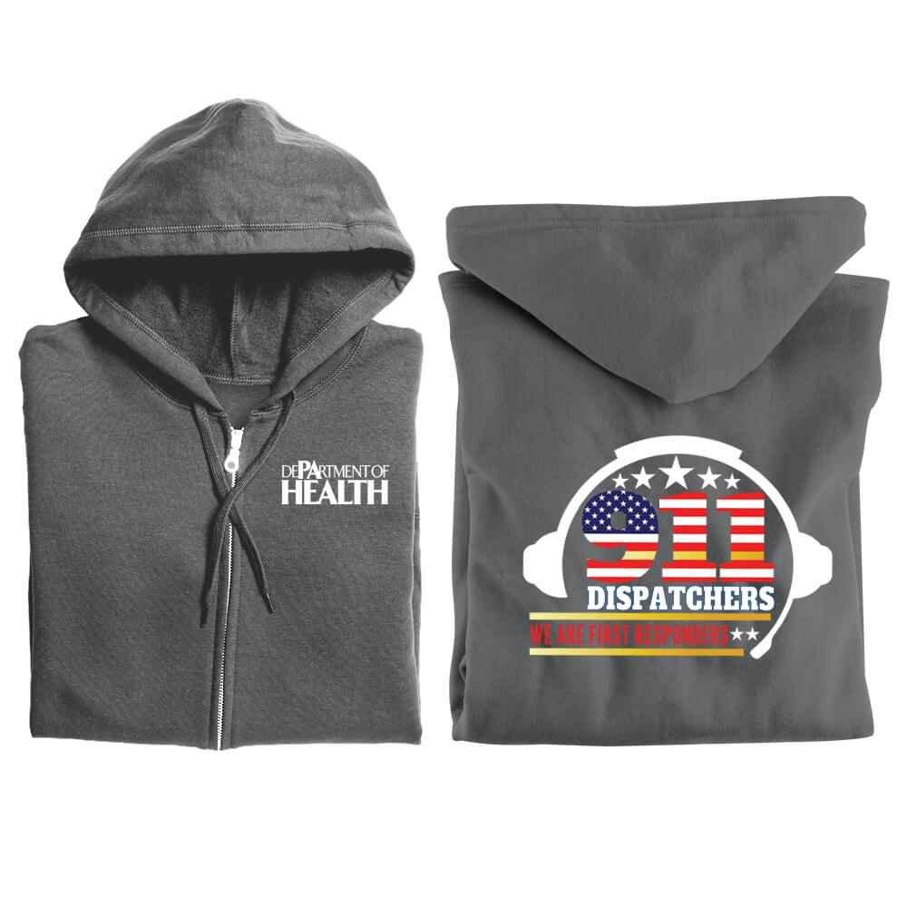 911 Dispatchers: We Are First Responders Gildan® Full-Zip Hooded Sweatshirt - Personalized