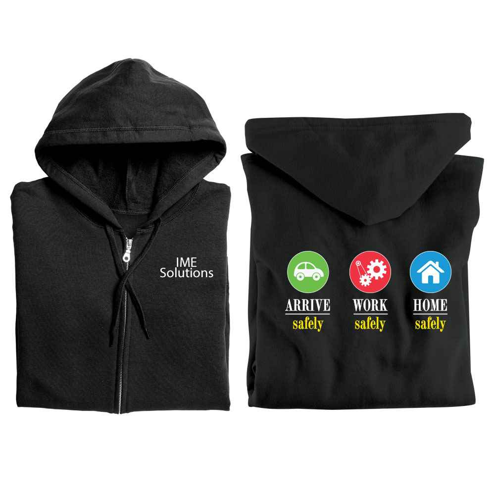 Arrive Safely. Work Safely. Home Safely. Gildan® full-Zip Hooded Sweatshirt with Personalization