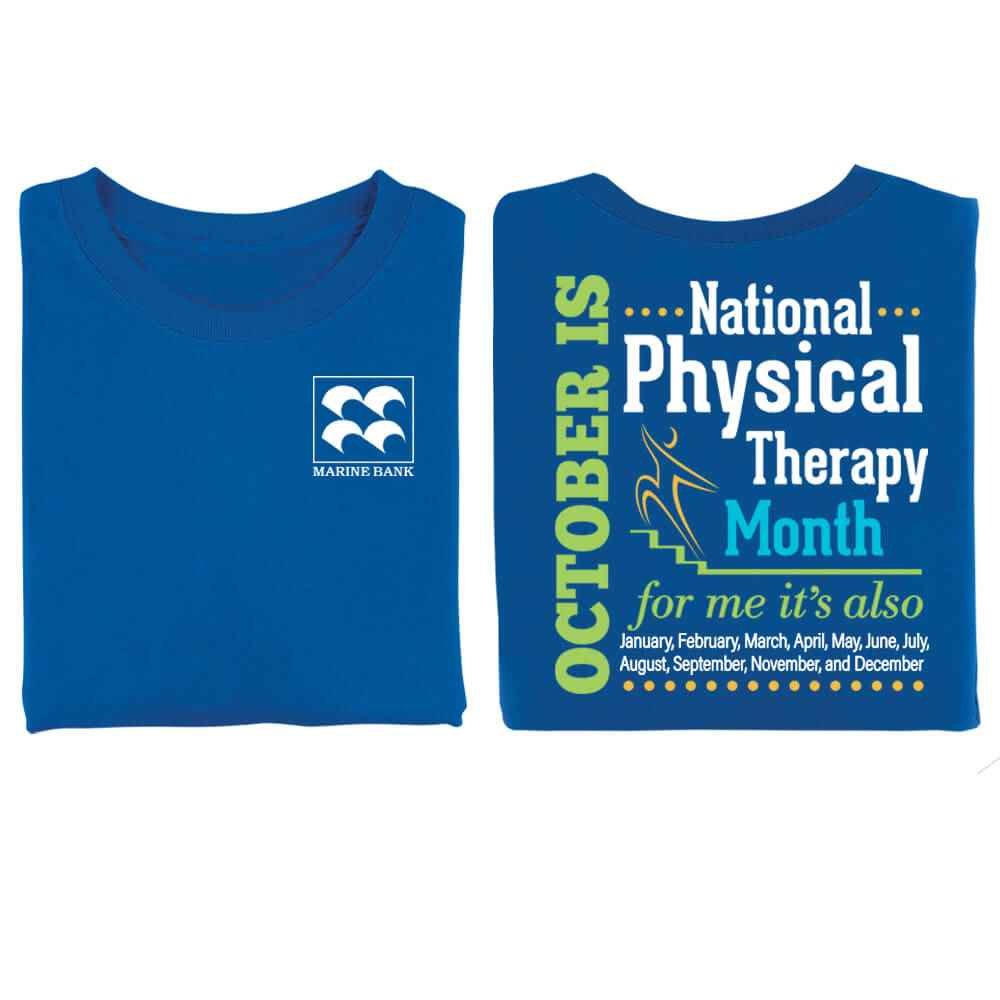 October Is Physical Therapy Month Two-Sided Short Sleeve T-Shirt - Personalized