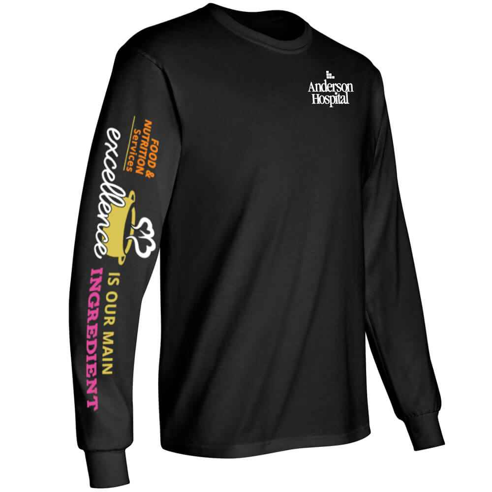 Food & Nutrition Services: Excellence Is Our Main Ingredient Long-Sleeve 2-Location Recognition T-Shirt - Personalized