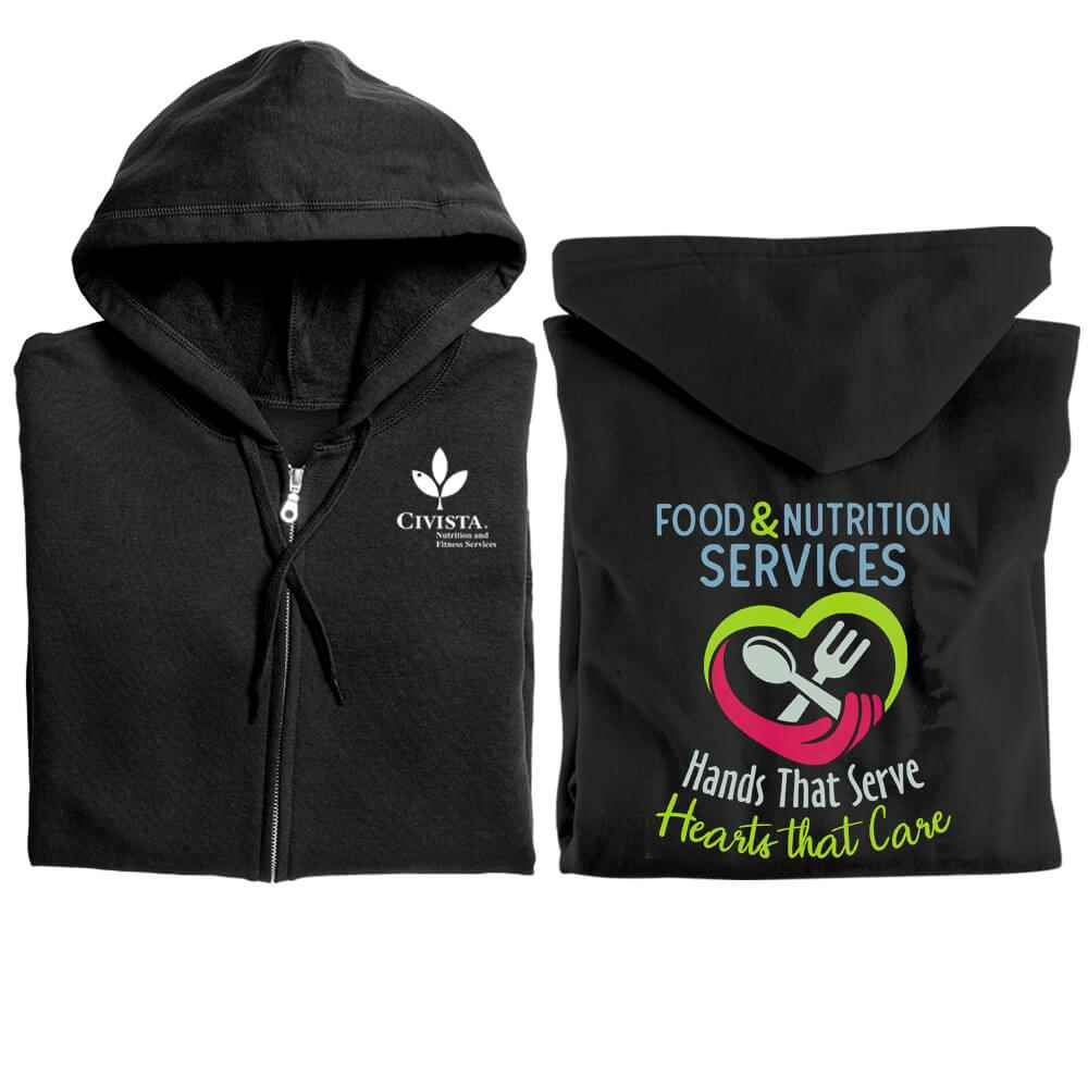 Food & Nutrition Services: Hands That Serve, Hearts That Care Gildan® Full-Zip Hooded Sweatshirt - Personalized