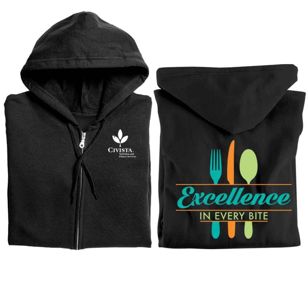 Excellence In Every Bite Gildan® Full-Zip Hooded Sweatshirt - Personalized
