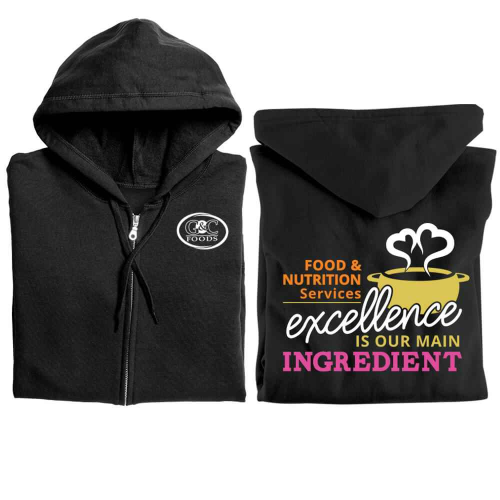 Food & Nutrition Services: Excellence Is Our Main Ingredient Gildan® Full-Zip Hooded Sweatshirt - Personalized
