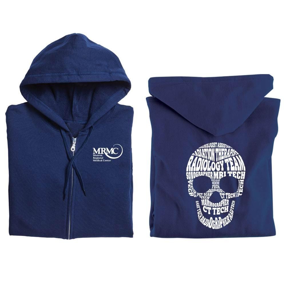 Radiology Team Skull Word Cloud Gildan® Full-Zip Hooded Sweatshirt - Personalized