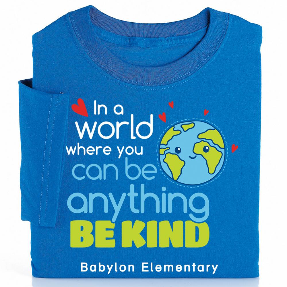 In A World Where You Can Be Anything, Be Kind Youth Positive T-Shirt with Personalization