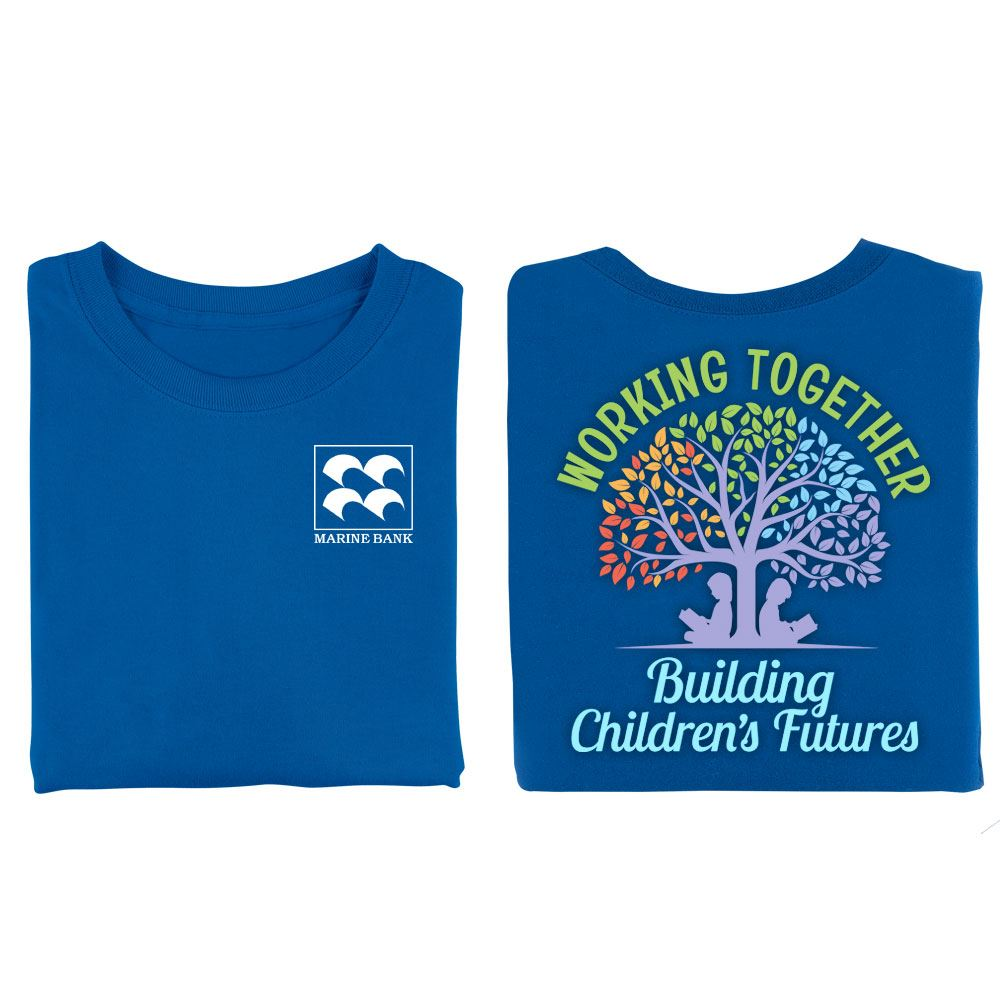 Working Together Building Children's Futures Royal Blue Two-Sided Short Sleeve T-Shirt - Personalization Available