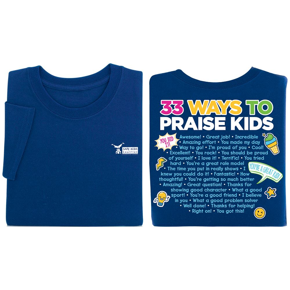 33 Ways To Praise Kids Navy 2-Sided T-Shirt - Personalization Available