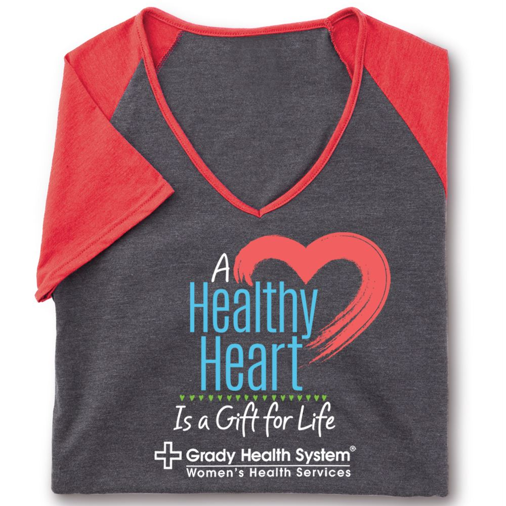 A Healthy Heart Is A Gift For Life Tri-Blend V-Neck Raglan T-Shirt - Personalization Available