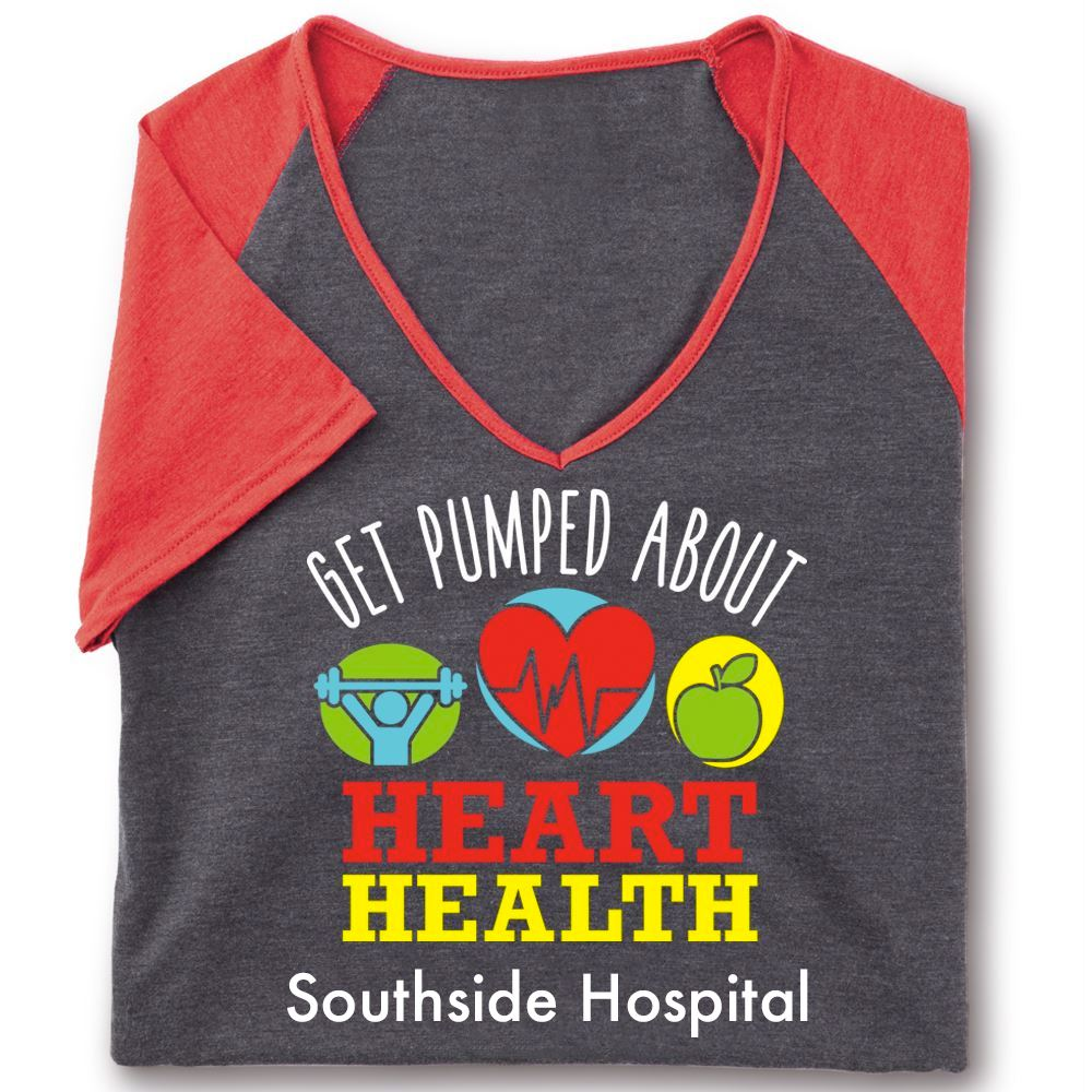 Get Pumped About Heart Health Tri-Blend V-Neck Raglan T-Shirt - Personalization Available