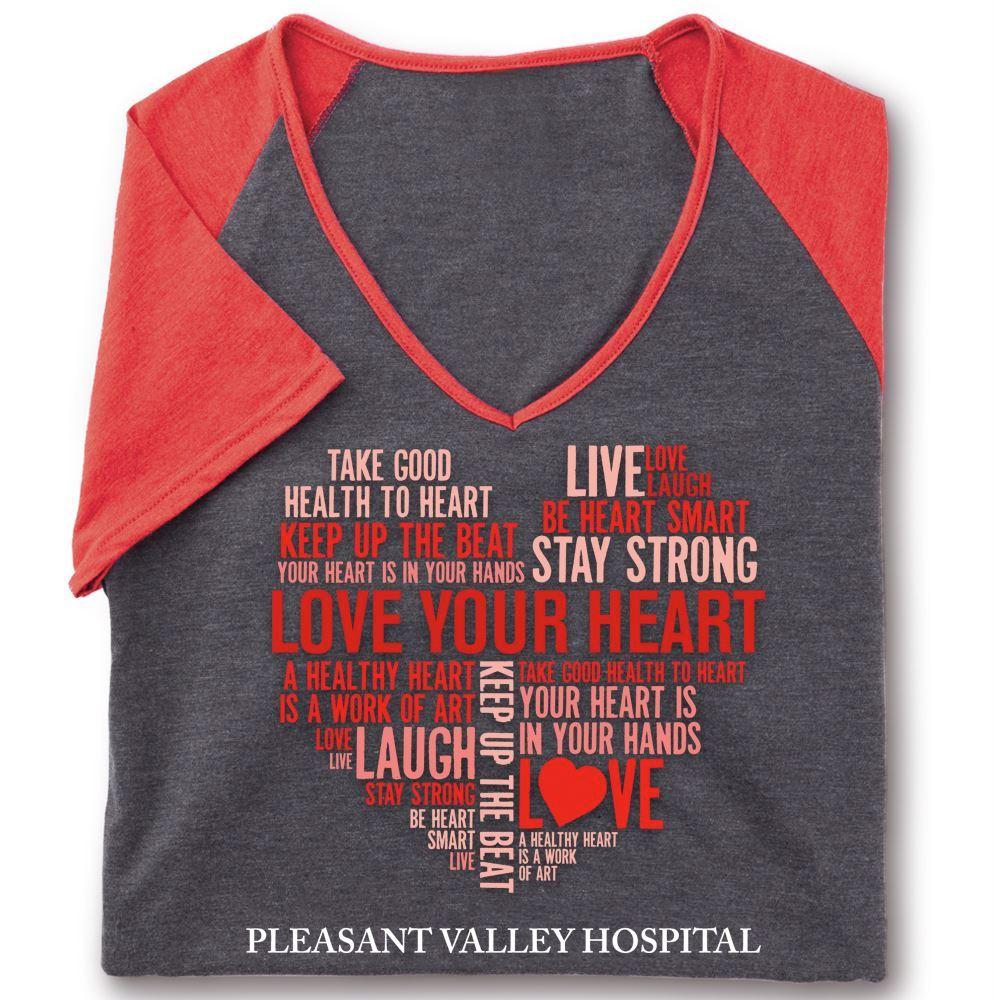 Love Your Heart Word Cloud Tri-Blend V-Neck Raglan T-Shirt - Personalization Available